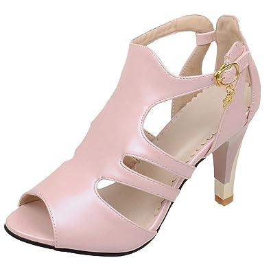abe7bb9670d25b AIYOUMEI Damen Römersandalen High Heels Stiletto Sandalen Peeptoe Sandaletten  Riemchen Schuhe Modern Pumps