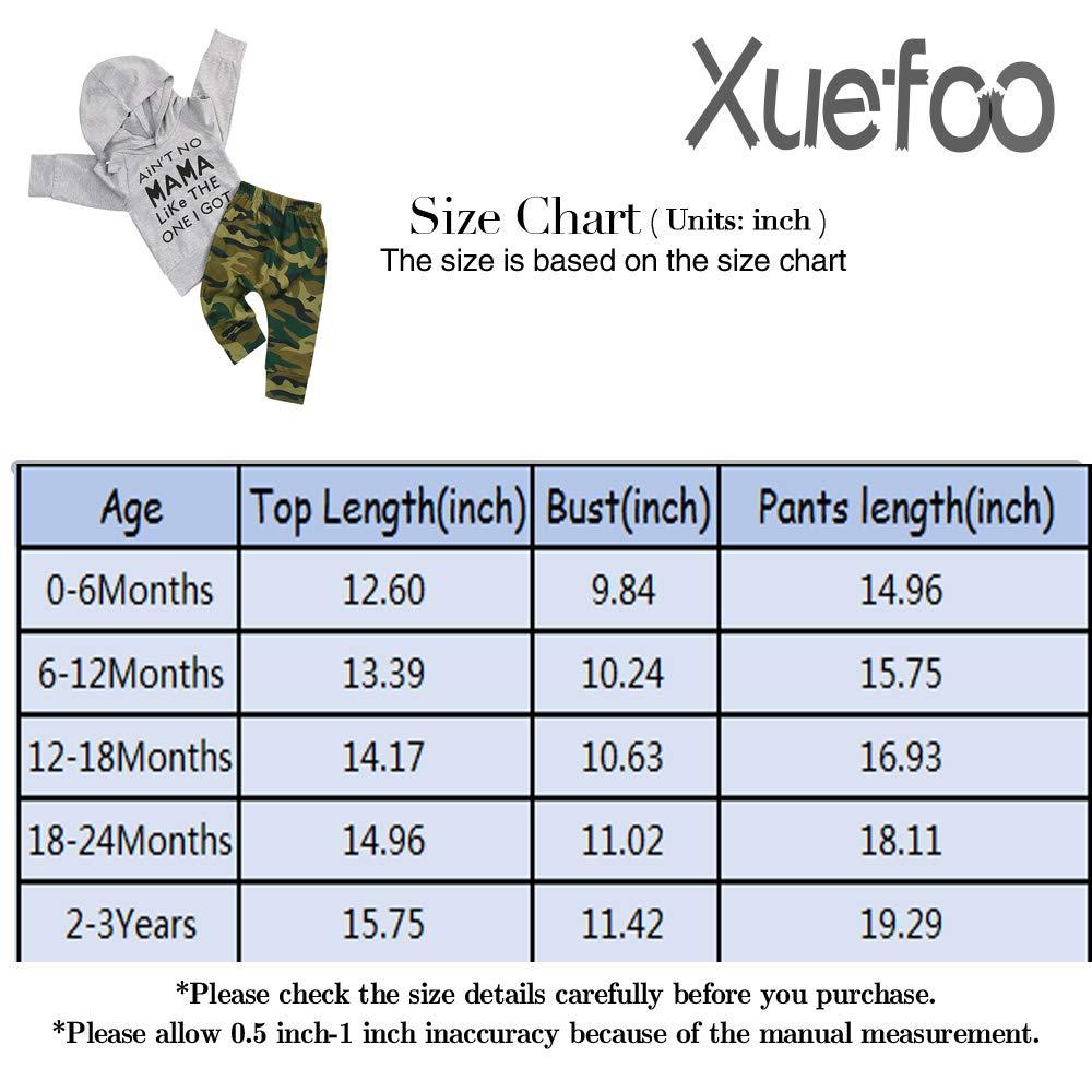 2 Unidades Xuefoo Conjunto de Ropa para beb/é con Capucha y pantal/ón de Camuflaje