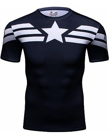 Cody Lundin® Hombres Deporte Apretado Camisa Película Captain héroe  Formación Rutina de Ejercicio Capas Base 8aa3252a15ea5