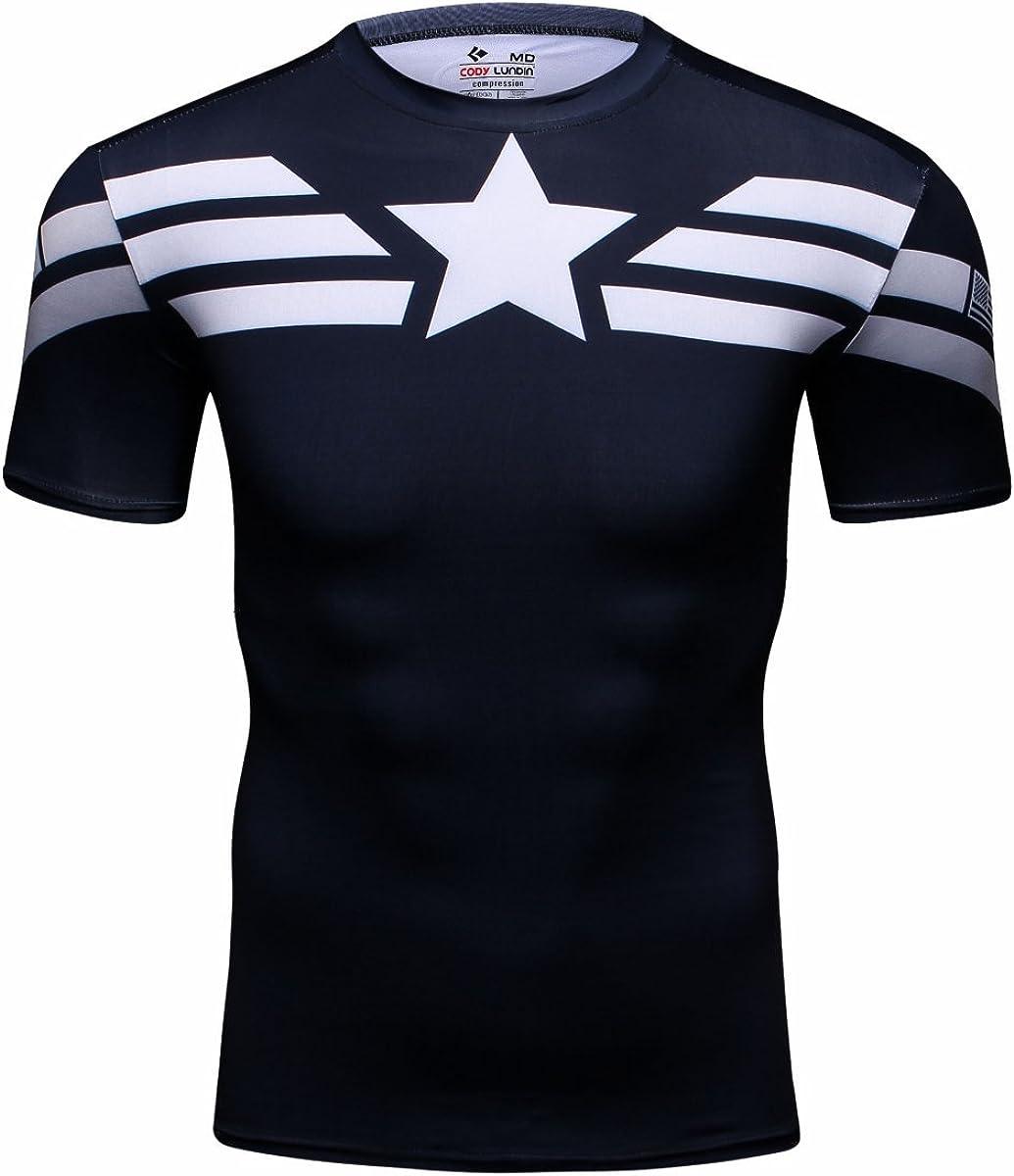 Red Plume Men's Film Super-Hero Series Compression Sports Shirt Running Short Sleeve Tee