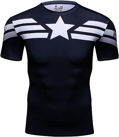 Cody Lundin® Hombres Deporte Apretado Camisa Película Captain héroe Formación Rutina de Ejercicio Capas Base Camiseta: Amazon.es: Ropa y accesorios