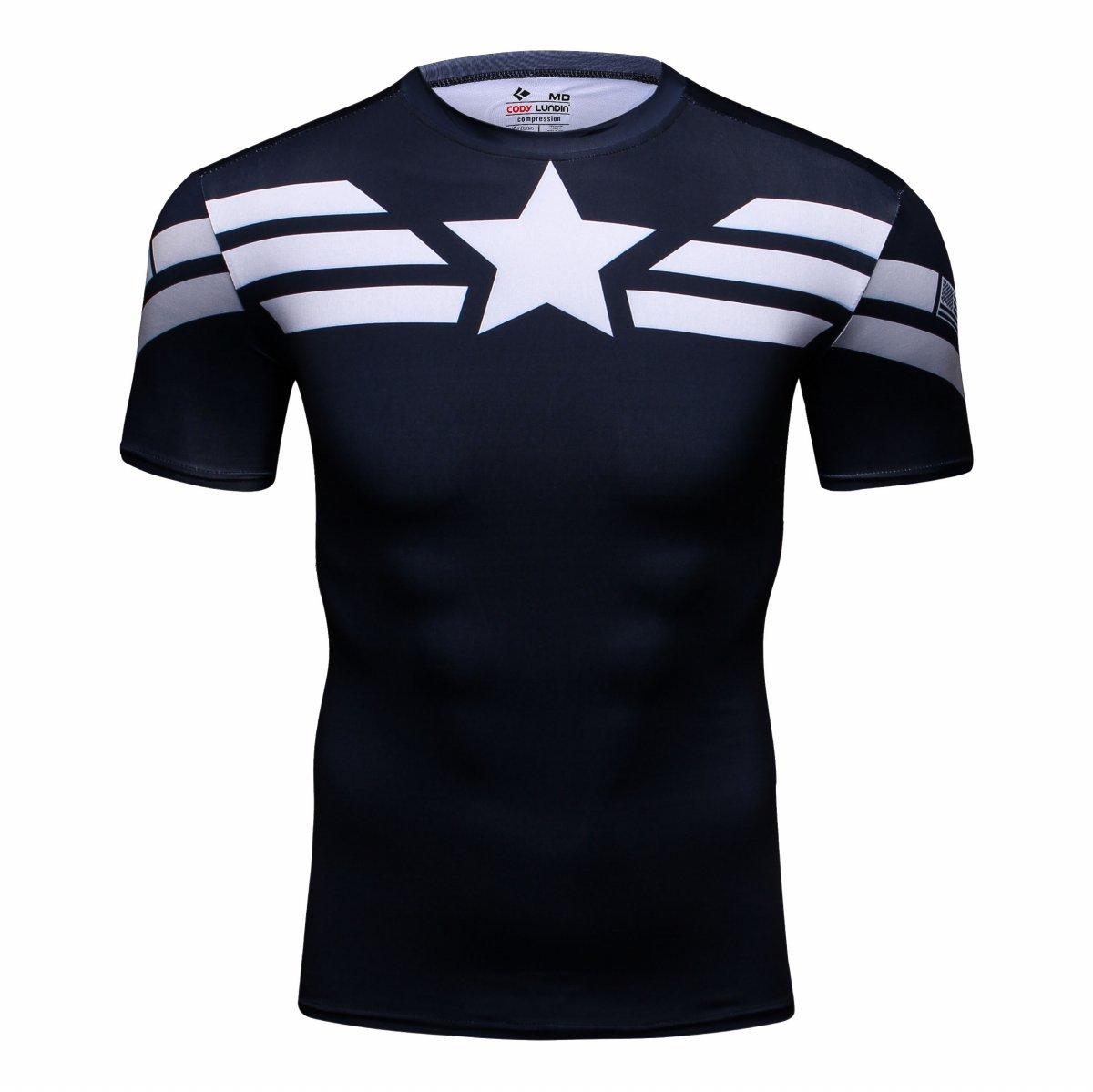 Cody Lundin® Hombres Deporte Apretado Camisa Película Captain héroe  Formación Rutina de Ejercicio Capas Base 3808033e28cf4