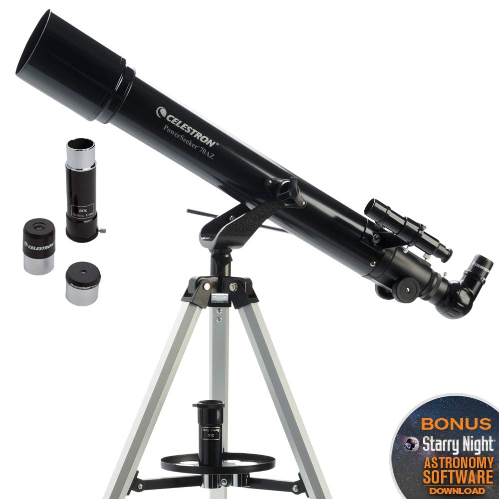 Celestron - PowerSeeker 70AZ Telescope - Manual Alt-Azimuth Telescope for Beginners - Compact and Portable - BONUS Astronomy Software Package - 70mm Aperture by Celestron