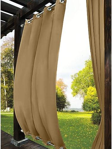 Drapifytex Extra Long Wheat Outdoor Curtain Waterproof Blackout Drapery Rustproof Aluminum Grommet Both Top and Bottom Drape