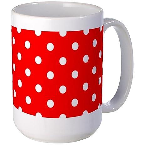 Amazon.com: CafePress - Red Polka Dot Mugs - Coffee Mug, Large 15 oz ...