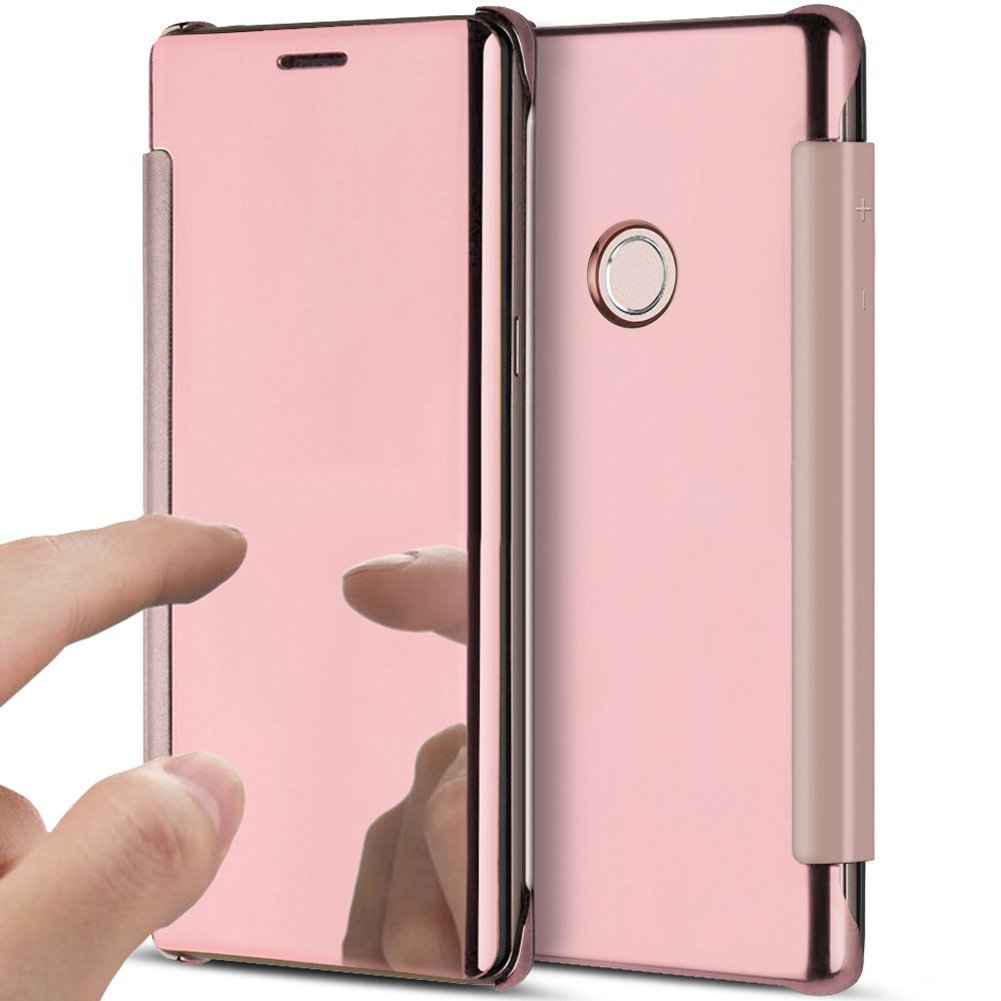 Huawei P8 Lite 2017 Case Huawei P8 Lite 2017 Mirror Book-Style Leather Mobile Phone Case Wallet Saincat Clear View Cover with Wood Effect pu Leather Cover Wallet Case Folio Transparent Clear Scratch Bumper Mobile Phone Case Back Cover mobile phone case fli
