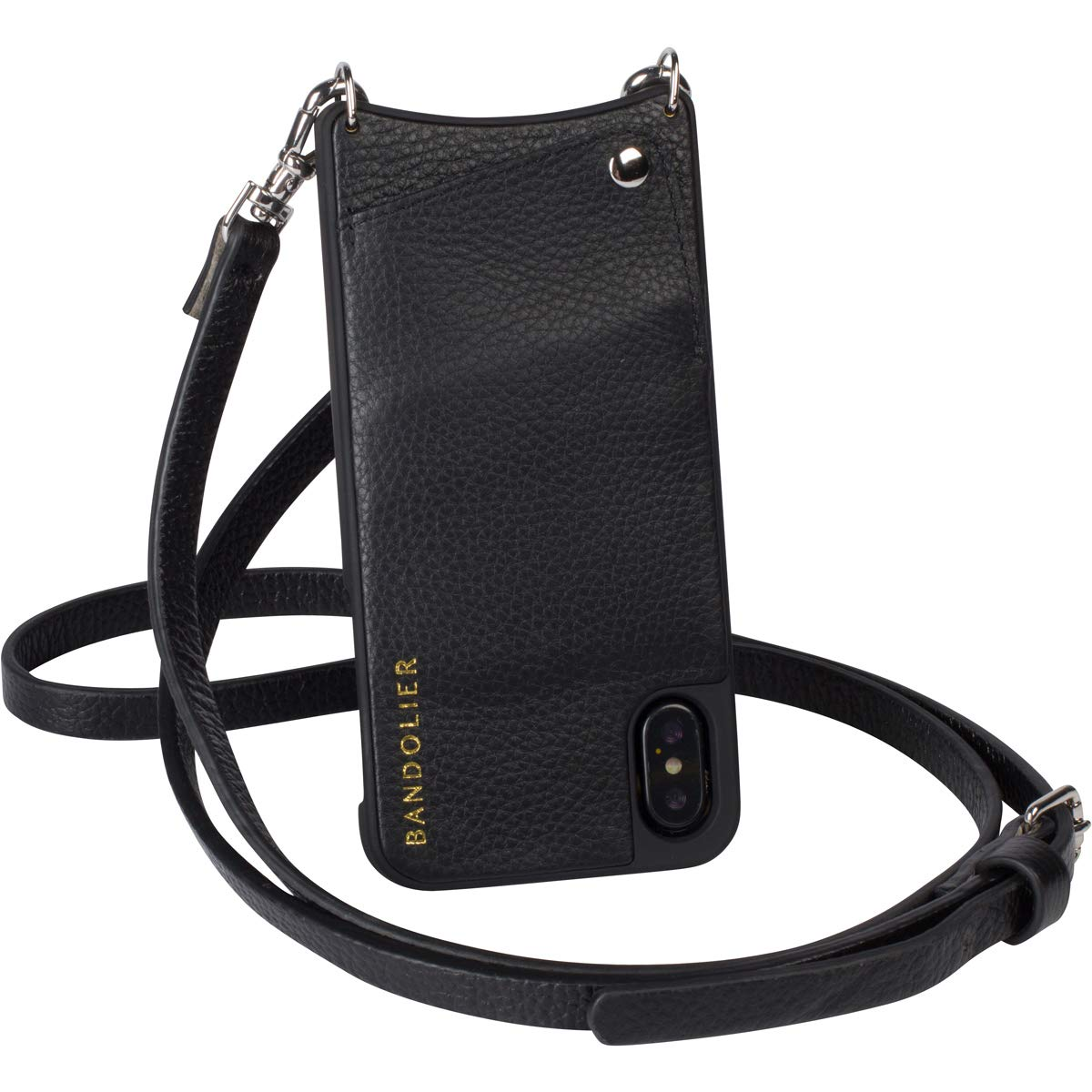 Bandolier [Emma] Crossbody Phone Case and Wallet - Compatible with iPhone Xs Max - Black Leather with Silver Accent