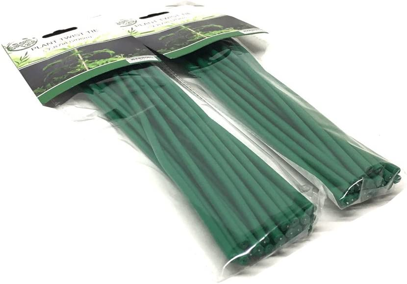 THE UM24 Set of 40 Plant Twist Tie - Flexible Green Rubber Coated Garden Training Wire (40)