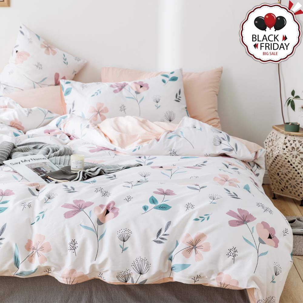 VCLIFE Cotton Floral White Peach Bedding Sets, Queen Girl Bedding Duvet Cover Sets 200 Thread Count Soft Bedding Collections for All Seasons