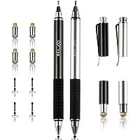 ELZO Pennino Capacitivo Stilo Penna 3 in 1, Fine Point Stylus Pen 2 Pezzi con 4 Punte a Disco Sostituibili e 2 Punte della Fibra di Ricambio per Tocco Micro Superficie/iPhone / iPad/Android e più