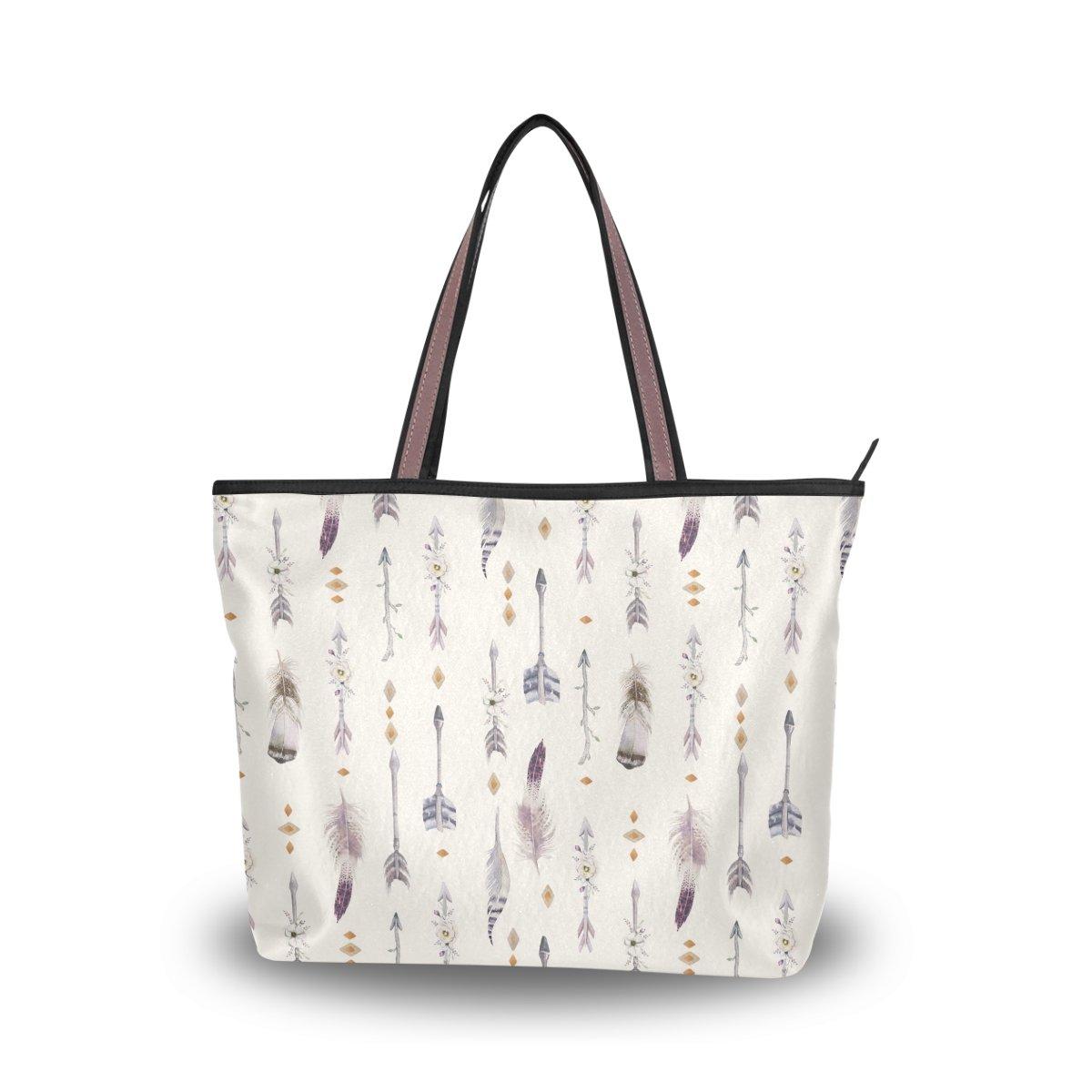 JSTEL Women Large Tote Top Handle Shoulder Bags Watercolor Boho Arrows And Feathers Patern Ladies Handbag