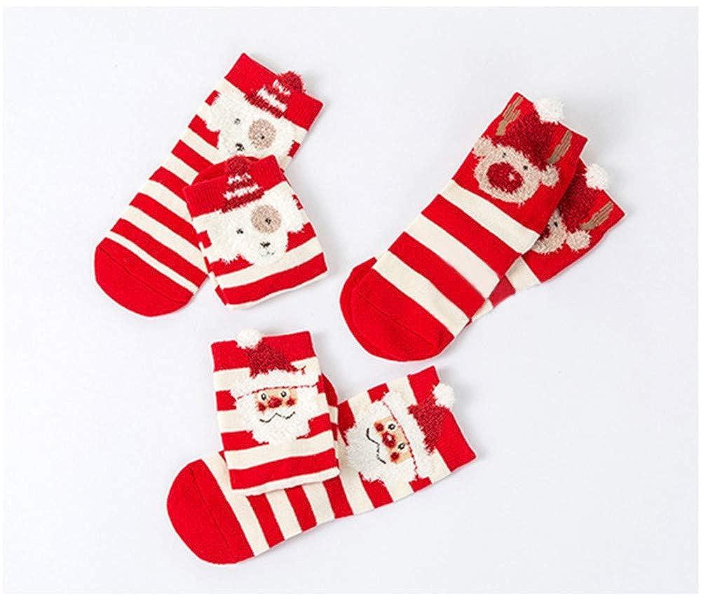 Amyline 3Pairs Cute Baby Kids Christmas Casual Socks Newborn Cotton Boys Girls Anti-slip Socks Set