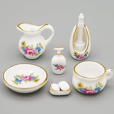Odoria 1:12 Miniature Bathroom Kit 7PCS Soap Dispenser Shampoo Set Porcelain Dollhouse Accessories: Toys & Games