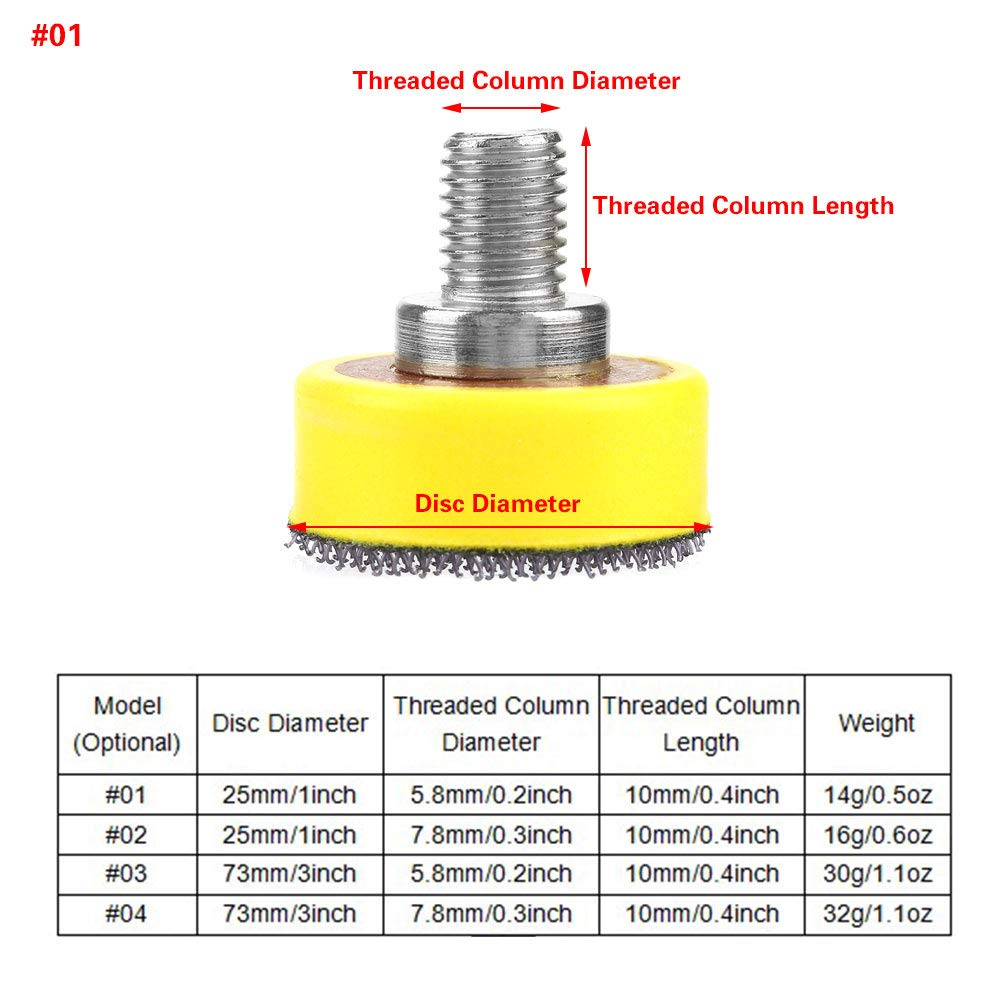 Plaque de support pour pastilles autocollantes avec disque abrasif M6//M8 Plaque de support pour tampon avec insert adh/ésif de 1 pouce//3 pouces pour disques abrasifs