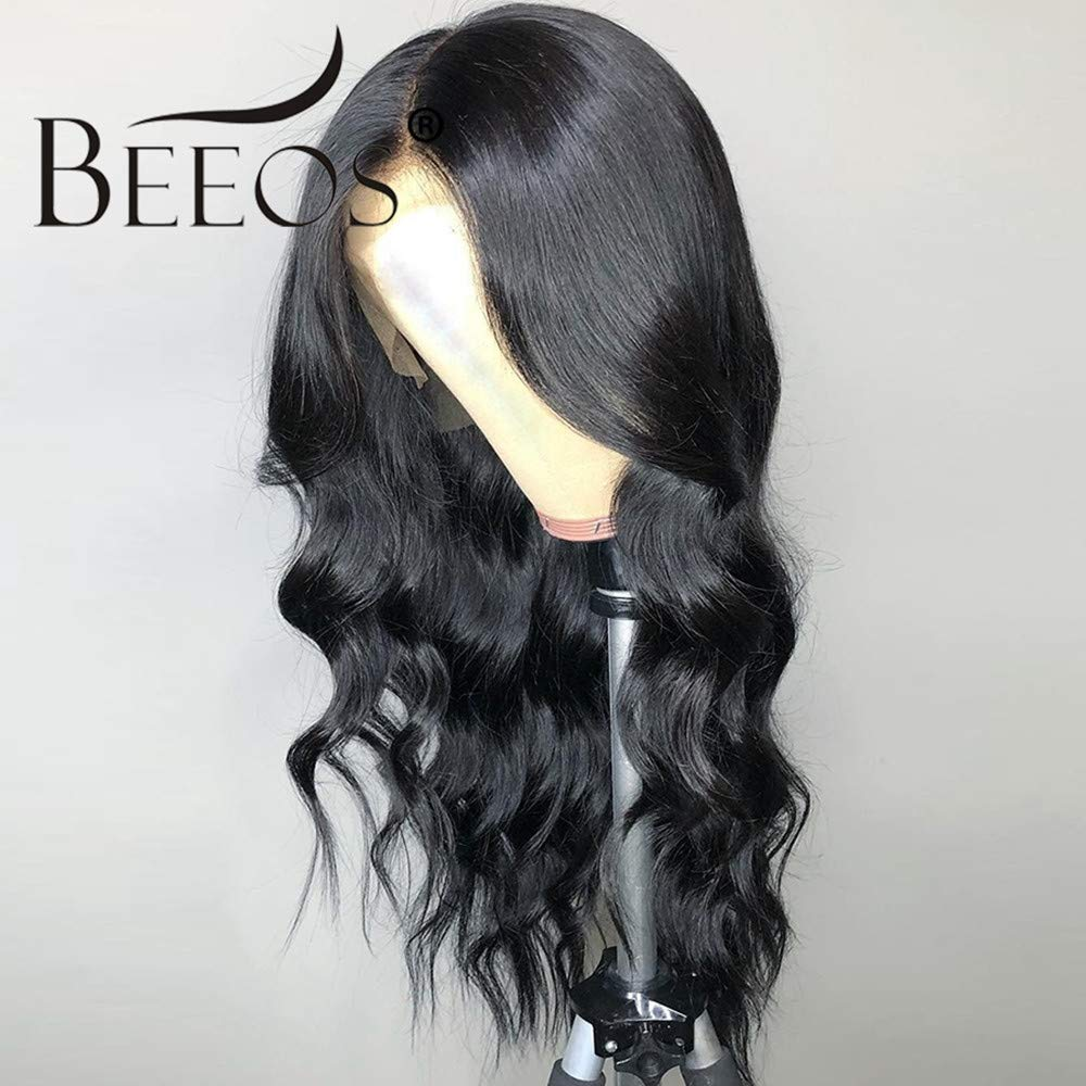 BEEOS 360 Lace Frontal Wigs Human Hair with Baby Hair, Pre Plucked and Bleached Knots Body Wave Brazilian Remy Hair Wigs Natural Hairline (14 inch)