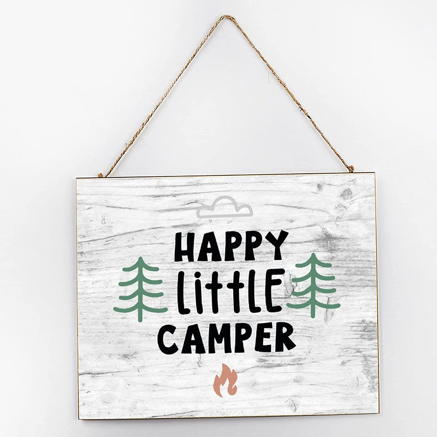EricauBird Happy Little Camper Farmhouse Hanging Wood Sign Camping Quote Wood Plaque 10x12 Rustic Wall Decor Wall Art for Indoor Outdoor