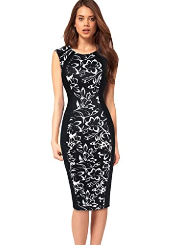 VfEmage Womens Elegant Print Optical Illusion Wear To Work Casual Pencil Dress