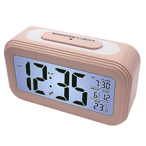 EASEHOME Reloj Despertador Digital, Relojes Despertadores Digitales Alarma Despertador Silencioso con Calendario Temperatura Reloj Alarma Función ...