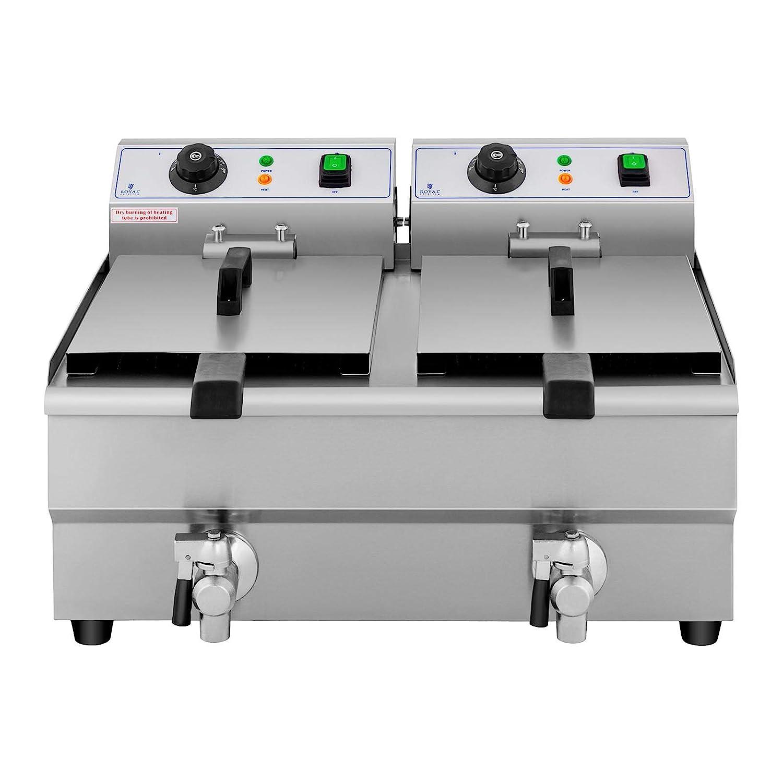 Royal Catering Freidora Eléctrica Doble Para Hostelería 2 x 10 Litros 230 V RCEF 10DB (2 x 3.000 W, Grifos De Vaciado, Temperatura: 50-200 °C): Amazon.es: ...
