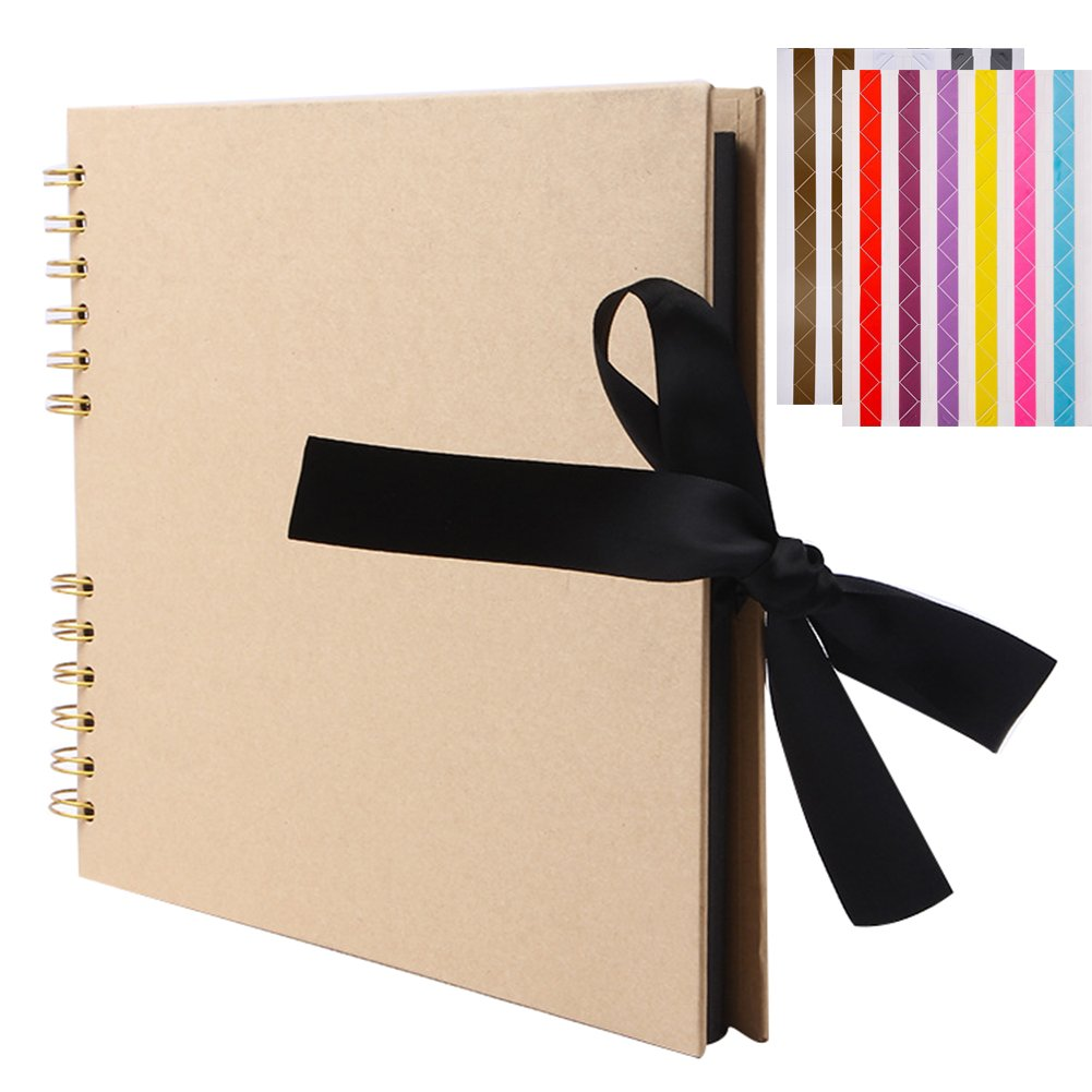 FORUSKY 80 Pages DIY Scrapbook Photo Album Wedding Guest Book, Family Scrapbook, Baby Memory Book, Anniversary Album, Travel Memory Book, Graduation Memory Album – Yellow