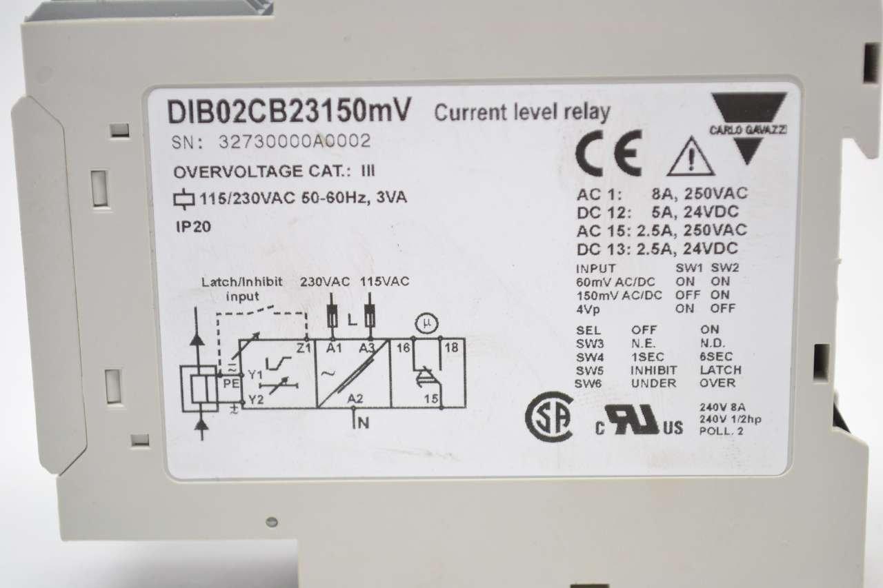 New Carlo Gavazzi Dib02cb23150mv Current Level 115 230v Ac 3va Relay B442017 Industrial Scientific