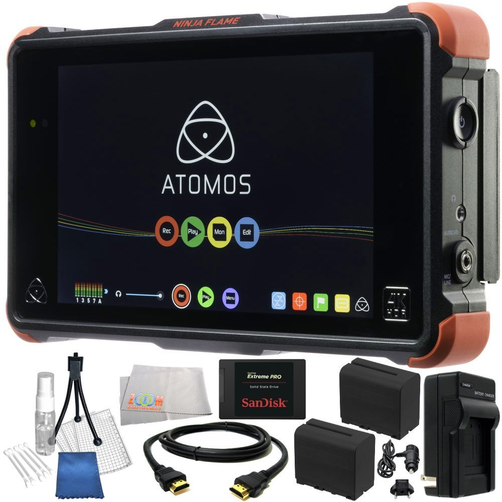 Atomos Ninja Flame 7' 4K HDMI Recording Monitor 19PC Bundle. Includes SanDisk 480GB Extreme Pro Solid State Drive + 2 Replacement F970 Batteries + AC/DC Rapid Home & Travel Charger + HDMI Cable + Deluxe Camera Starter Kit + Microfiber Cleaning Cloth