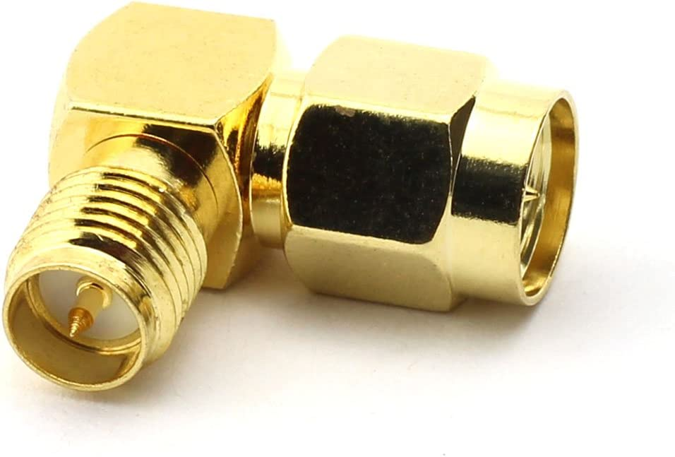 Maxmoral 2PCS SMA Male to RP SMA Female Connector Right-Angle RF Coax Coaxial Adapter