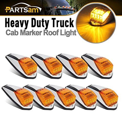 (Partsam 9 x 17 LED Amber Cab Marker Light Truck Trailer LED Clearance Top Roof Running Sealed Lights W Chrome Base Replacement for Peterbilt Kenworth Freightliner Mack Western Star Trucks)