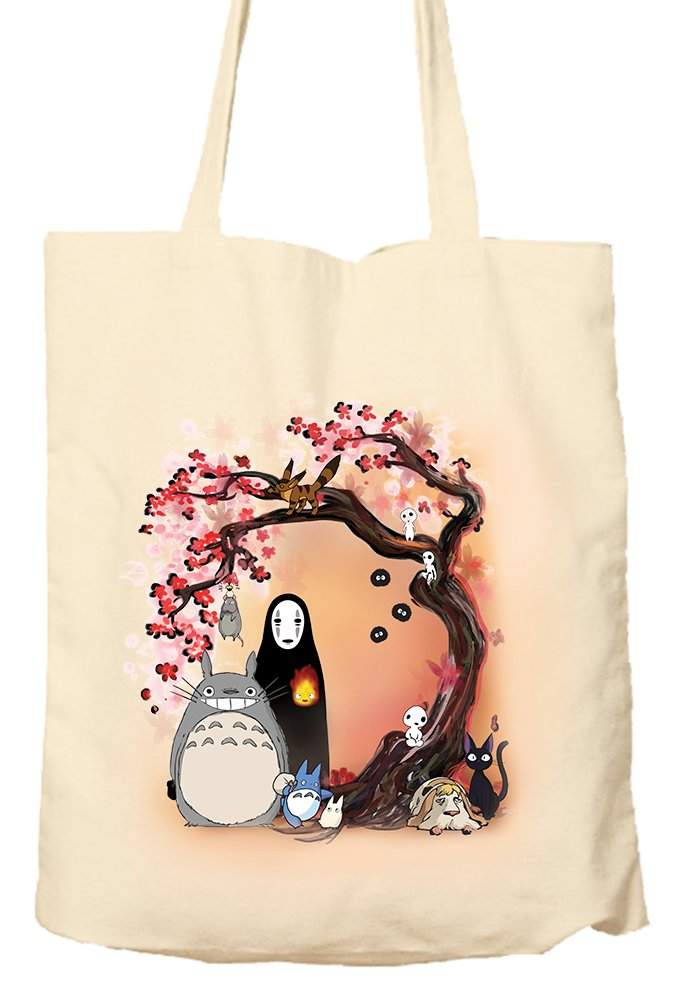 STUDIO GHIBLI CHARACTERS CHERRY BLOSSOM TREE MY NEIGHBOUR TOTORO NO FACE - Tote Bag, Natural Shopping Bag, Environmentally Friendly MerchDistributor