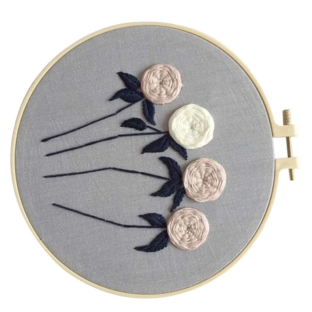 Color Threads Prettyia Full Range of Embroidery Starter Kit Including Instructions Embroidery Hoops and Cross Stitch Tool Kit for Beginners Aida Cloth CD002