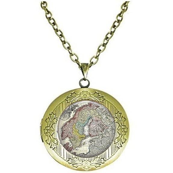 qws Scandinavia Halskette mit Medaillon, Vintage-Design, Skandinavisch, Norwegen, Finnland, Norwegen, Schwedisch, Finnisch, N
