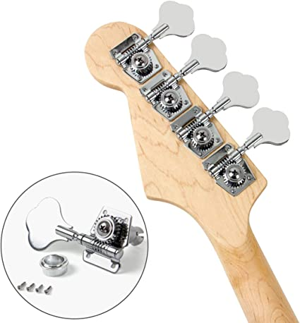 IKN 4PCS Right Bass Tuning Pegs Vintage Open Gear Machine Heads Set for Electric Bass Guitar Parts