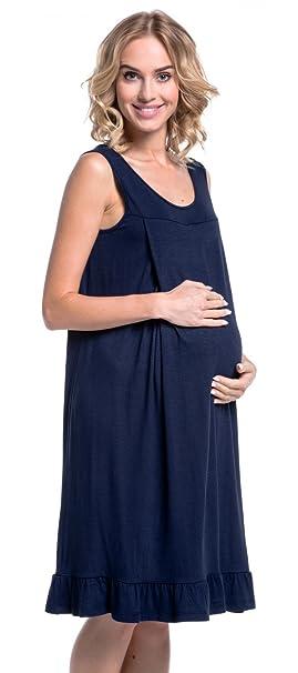 Para Mujer Camisa de Noche Premamá Camisón Embarazo Lactancia. 989p (Armada