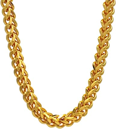 Tuokay Sparkling 18k Faux Gold Franco Chain Necklace For Man 24 Inch 6mm Fake Gold Rapper Chain 90s Punk Style School Rapper Kit Costume Accessory Hip Hop Necklace Costume Jewelry Amazon Com