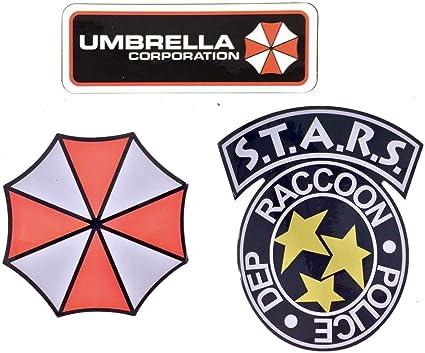 Departamento de polic/ía de Raccoon City S.T.A.R.S paquete de 3 y Umbrella Corporation Colecci/ón de pegatinas de PVC resistente al agua y a los rayos UV