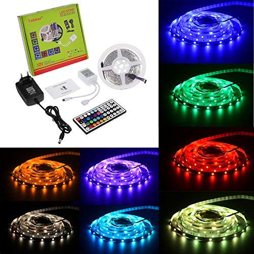Tabker® 5 Meter 5050 150 Leds KOMPLETT SET: RGB LED STRIP 5 METER - Controller, 44 Tasten Fernbedienung und Netzteil. Mehrfarbig viele Funktionen