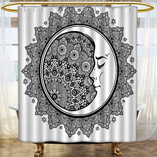 (AmaPark Rust Metal Grommets Shower Curtain Interlace Round and Crescent with Folk Graphic Black White Machine Washable 66 x 72 inches)