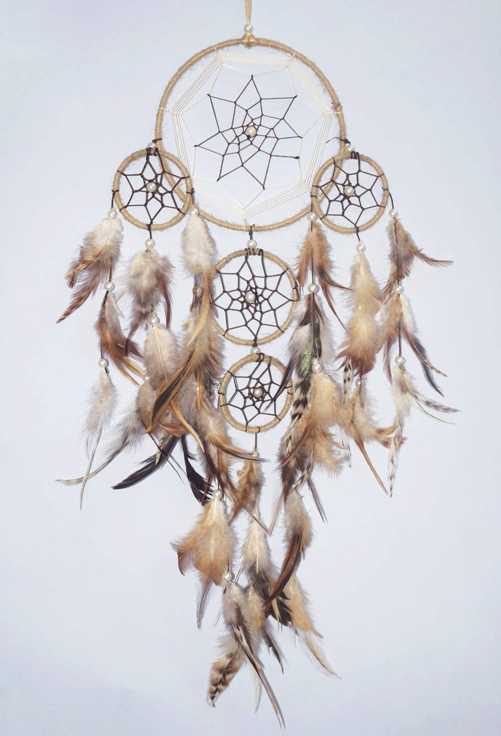 Asian Hobby Crafts Traditional Handcrafted Dream Catcher Wall Hanging with Natural Feathers - Brown Large Boho Style for Room Decor, Baby Shower, Gifting, Size - 21 x 6 inches (L x Dia)