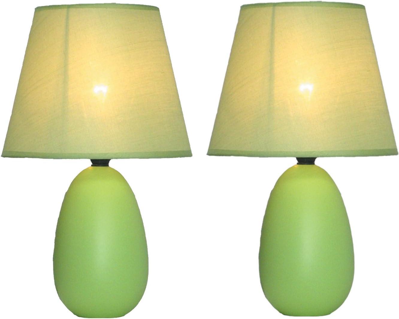 "Simple Designs Home LT2009-GRN-2PK Mini Oval Egg Ceramic Table Lamp 2 Pack Set, 5.51"" x 5.51"" x 9.45"", Green"