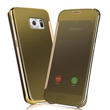 Samsung Galaxy S6 edge Fundas y Carcasas - NextMall Flip Case [Vista Clara Cover ]PU Cuero Ultra delgado Espejo Protective Dura Carcasa para Galaxy S6 ...