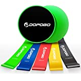 Gliding Discs Core Sliders and 5 Exercise Resistance Loop Bands, Dopobo Double-Sided Sliding Discs, Resistance Bands for…
