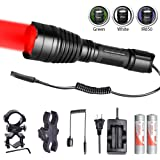 Odepro KL41 Hunting Flashlight Kit Red Light Green Light White Light IR850 Light LED Lamps and Cable Switch, Long Beam Flashlight with 18650 Rechargeable Battery, Charger