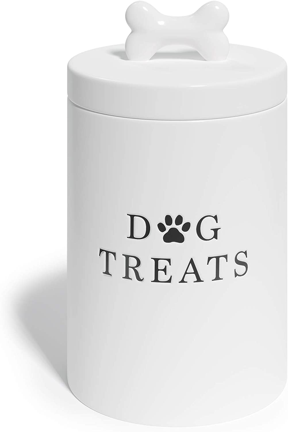 Barnyard Designs Dog Treat Jar, Large Ceramic Airtight Canister with Lid, Rustic Farmhouse Pet Food Storage Container Holder for Cookies, Biscuits, and Snacks, White, 5.25