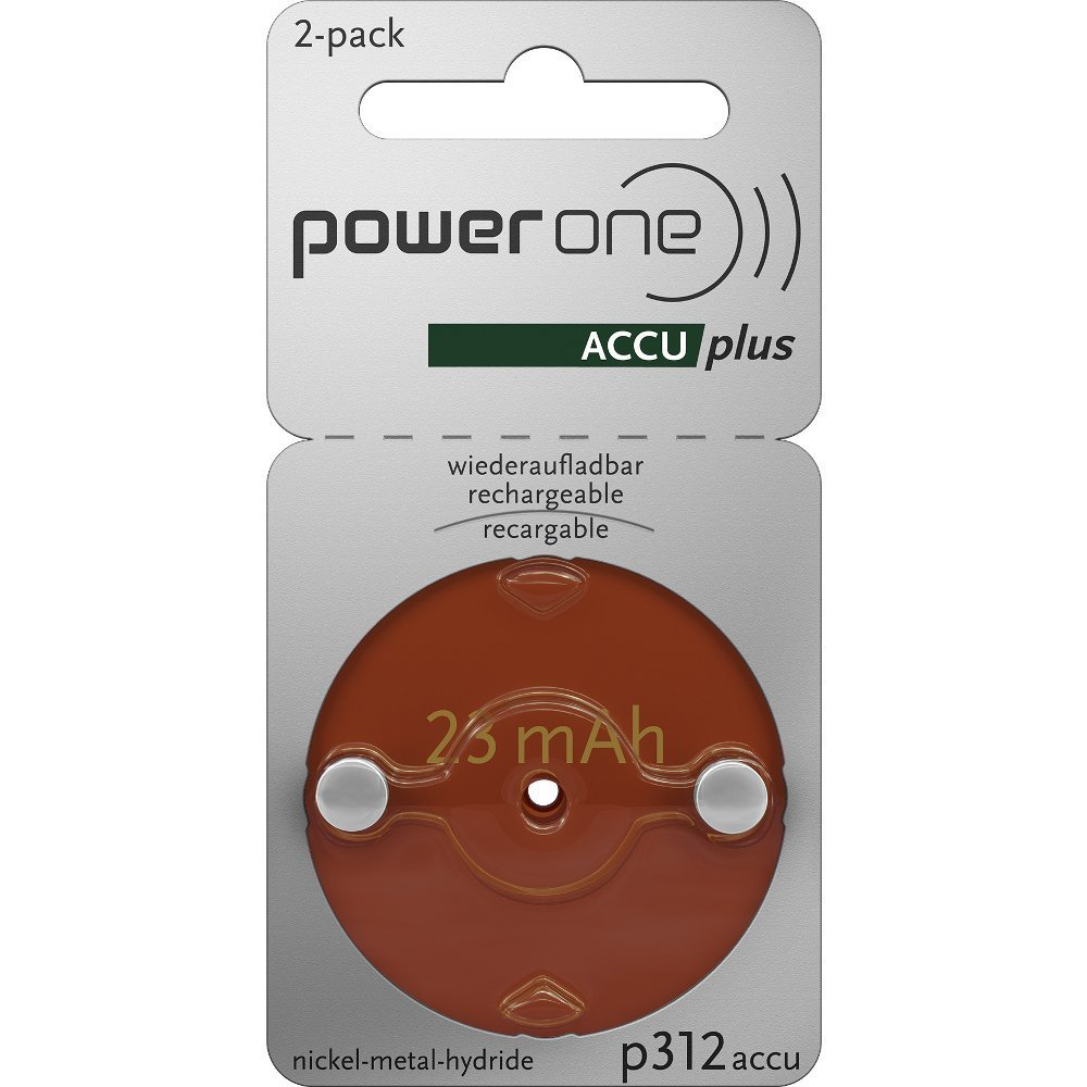 Power One ACCU Plus Size 312 Rechargeable Hearing Aid Batteries