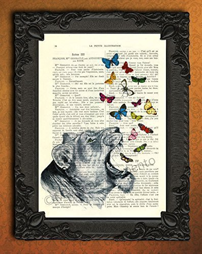 (Lioness butterflies artwork, cat poster on antique paper, roaring lion art print)