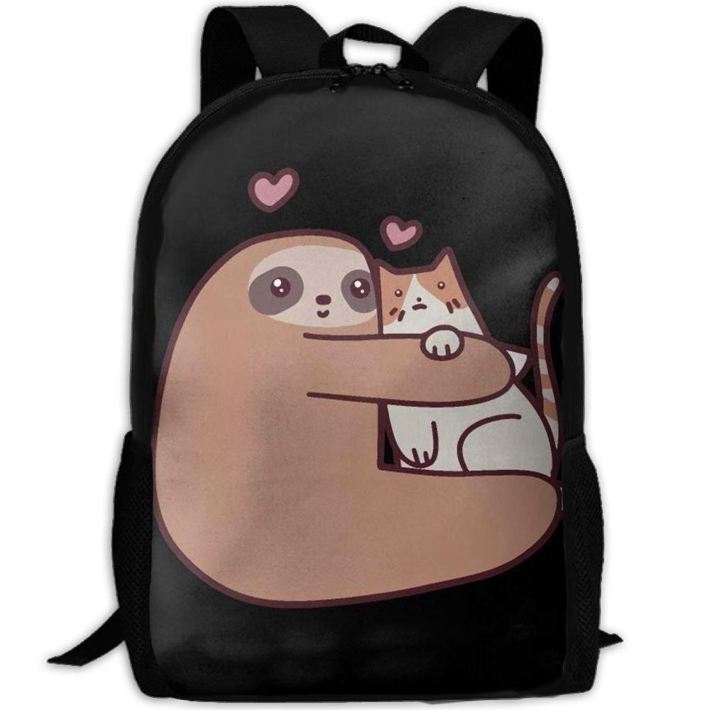 Malsjk8 Sloth Loves Cat Interest スクールブックバッグ リュックサック 女の子用 トラベルバックパック キャンバスバックパック ショルダーバッグ   B07G214D4L
