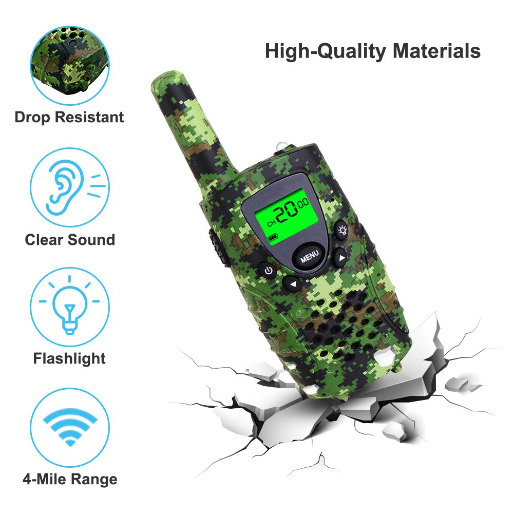 Walkie Talkies for Kids,22 Channels FRS/GMRS UHF Kids Walkie Talkies, 2 Way Radios 4 Miles Walkie Talkies Kids Toys with Flashlight by EWOR, 1 Pair,Camo (Camo Green) by E-wor (Image #4)