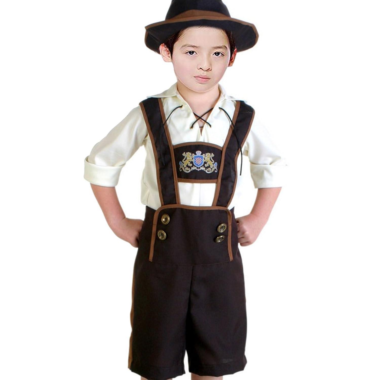 Partiss Kinder Oktoberfest Trachtenhemd und Trachtenhose Karneval Fasching Bier Cosplay Kostuem Trachtenset