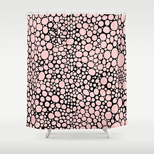 Pink and Black Shower Curtain. Modern unique funky bathroom accessories. Add a matching bath mat! Artwork by mixed media artist C.Cambrea.