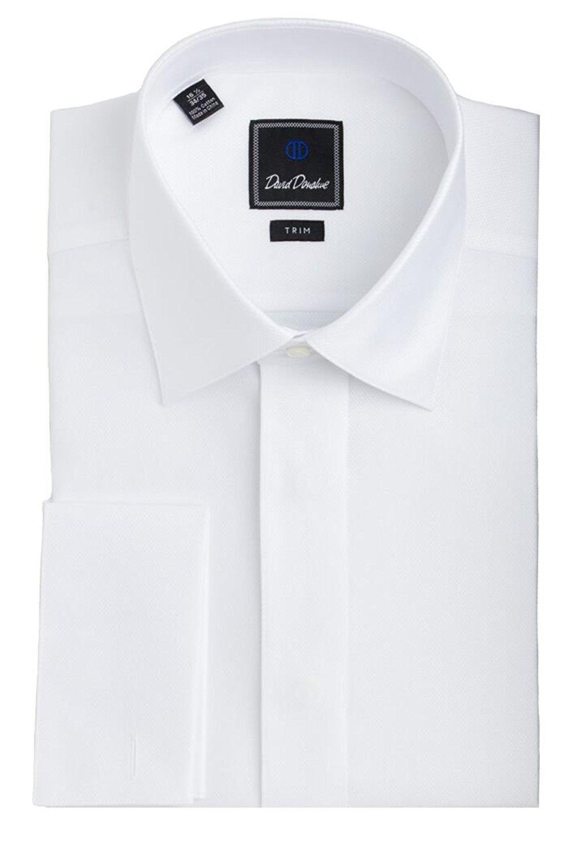 David Donahue Diamond Pattern Trim Fit Formal Tuxedo Shirt - Size 17.5, 36/37